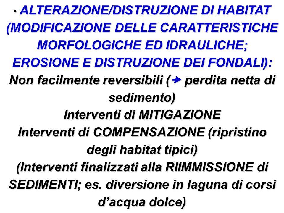 ALTERAZIONE/DISTRUZIONE DI HABITAT (MODIFICAZIONE DELLE CARATTERISTICHE MORFOLOGICHE ED IDRAULICHE; EROSIONE E DISTRUZIONE DEI FONDALI): ALTERAZIONE/D