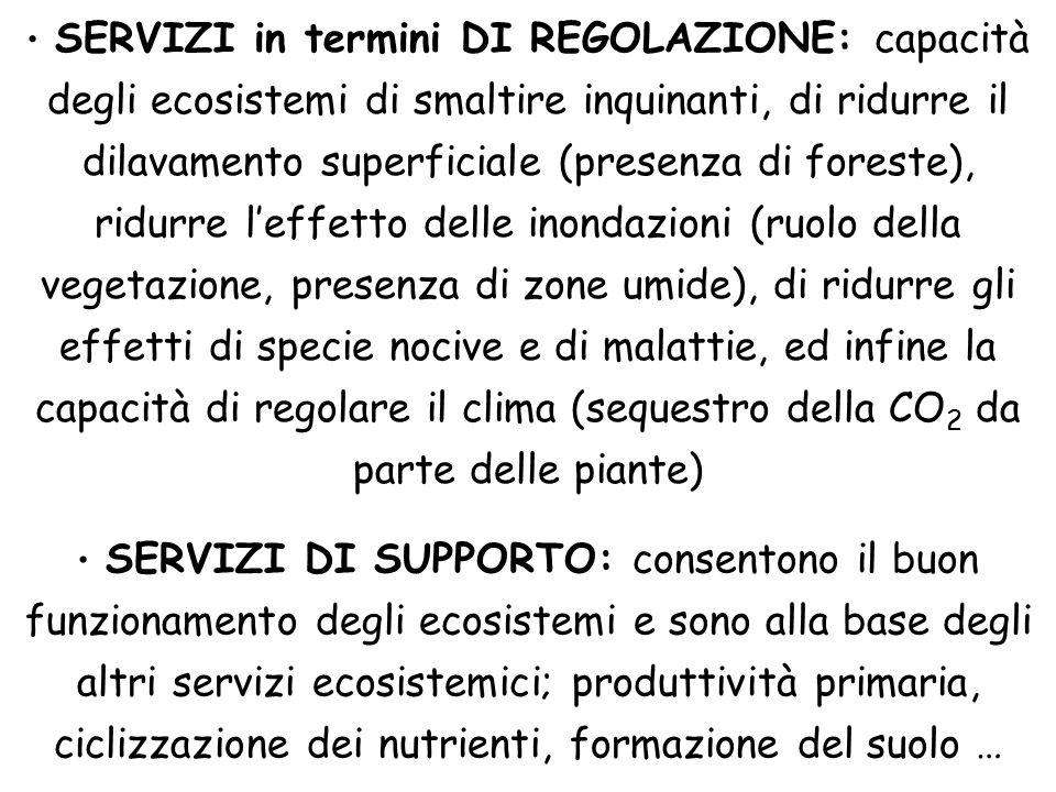 SERVIZI in termini DI REGOLAZIONE: capacità degli ecosistemi di smaltire inquinanti, di ridurre il dilavamento superficiale (presenza di foreste), rid