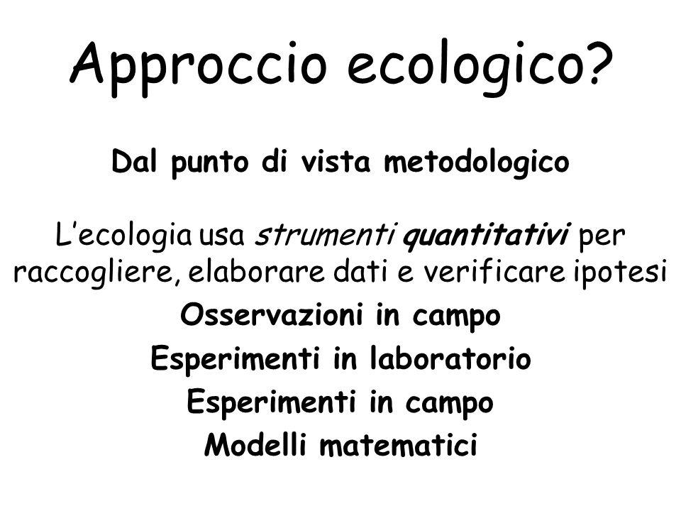 Approccio ecologico? Dal punto di vista metodologico L'ecologia usa strumenti quantitativi per raccogliere, elaborare dati e verificare ipotesi Osserv