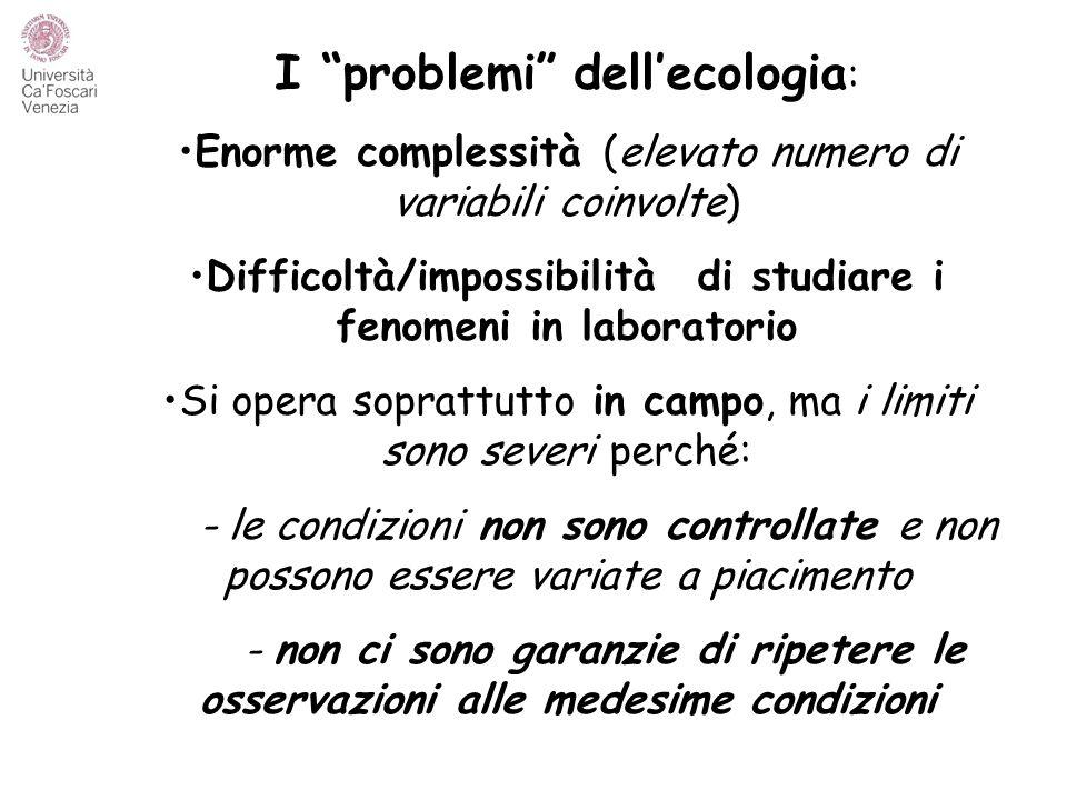 """I """"problemi"""" dell'ecologia : Enorme complessità (elevato numero di variabili coinvolte) Difficoltà/impossibilità di studiare i fenomeni in laboratorio"""
