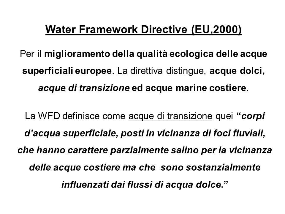 Water Framework Directive (EU,2000) Per il miglioramento della qualità ecologica delle acque superficiali europee. La direttiva distingue, acque dolci