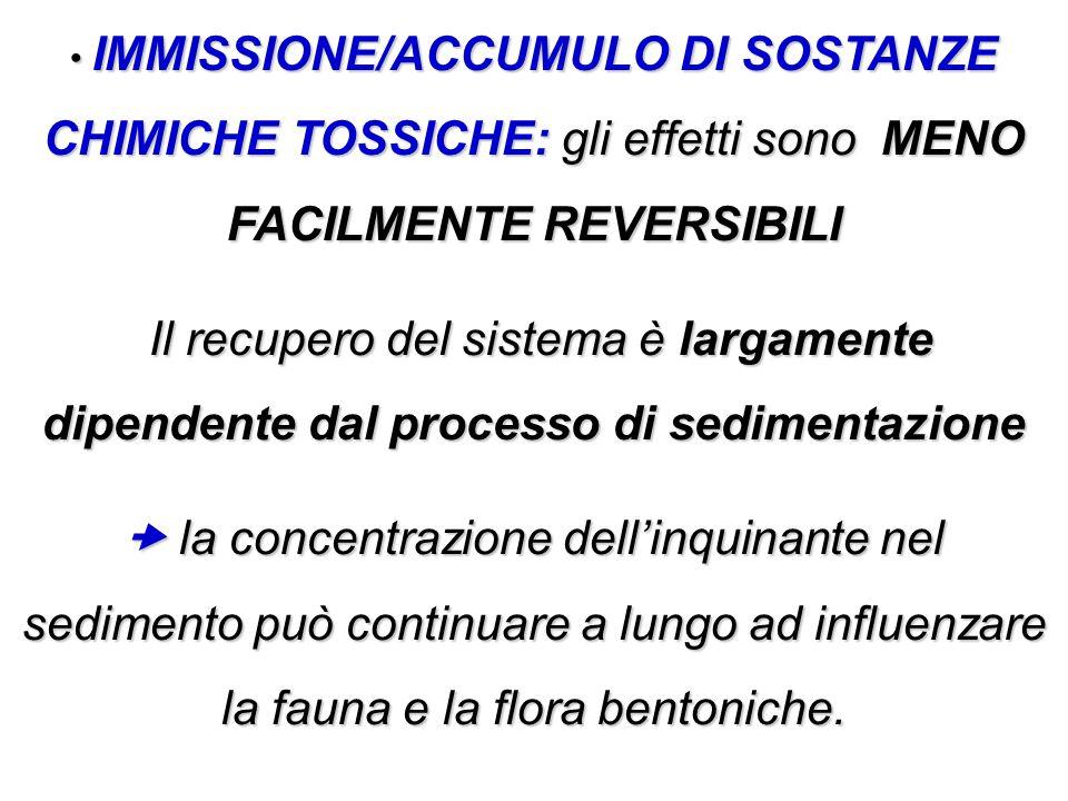 IMMISSIONE/ACCUMULO DI SOSTANZE CHIMICHE TOSSICHE: gli effetti sono MENO FACILMENTE REVERSIBILI IMMISSIONE/ACCUMULO DI SOSTANZE CHIMICHE TOSSICHE: gli