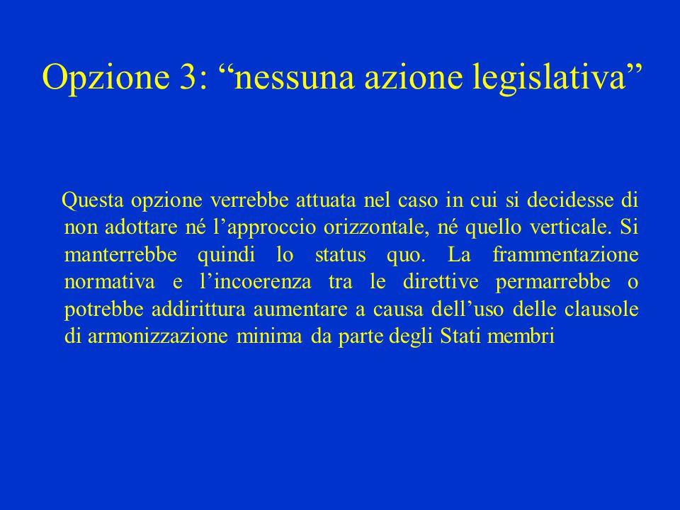 Opzione 3: nessuna azione legislativa Questa opzione verrebbe attuata nel caso in cui si decidesse di non adottare né l'approccio orizzontale, né quello verticale.