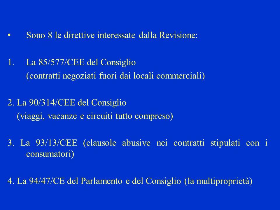 5.La 97/7/CEE del Parlamento e del Consiglio (contratti di vendita a distanza) 6.