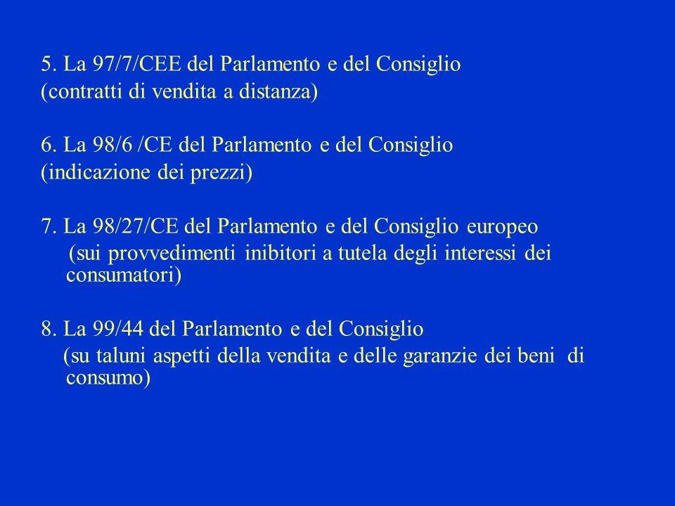 5. La 97/7/CEE del Parlamento e del Consiglio (contratti di vendita a distanza) 6.