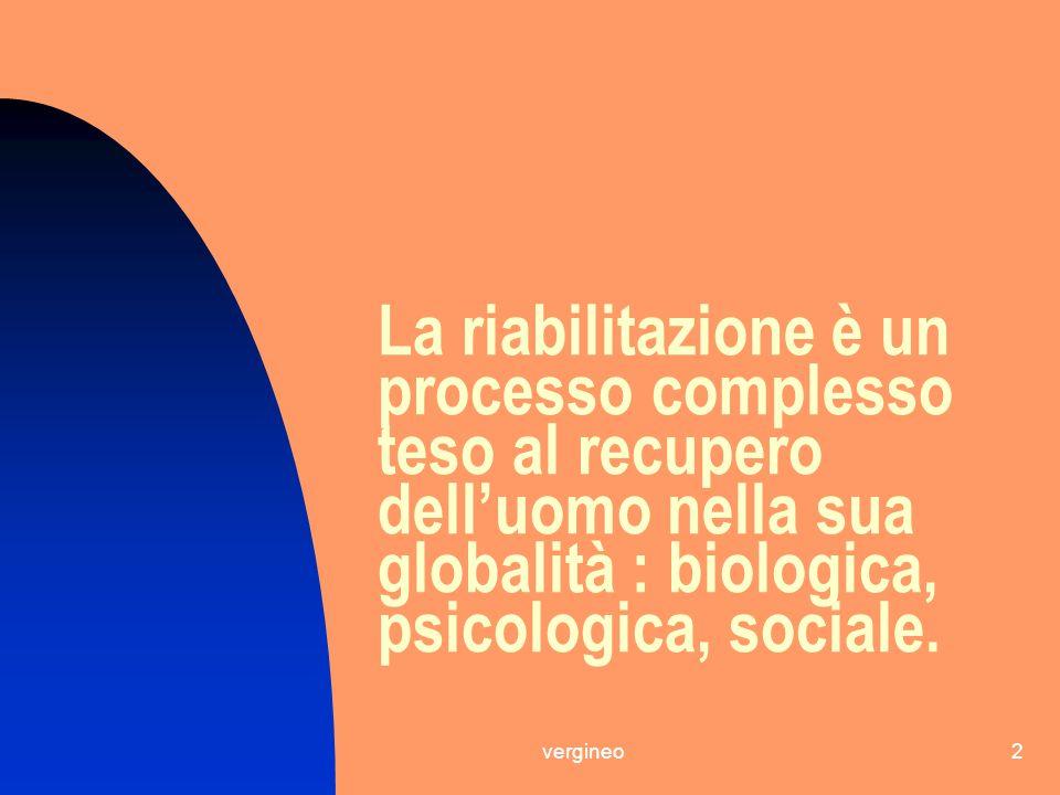 2 La riabilitazione è un processo complesso teso al recupero dell'uomo nella sua globalità : biologica, psicologica, sociale.