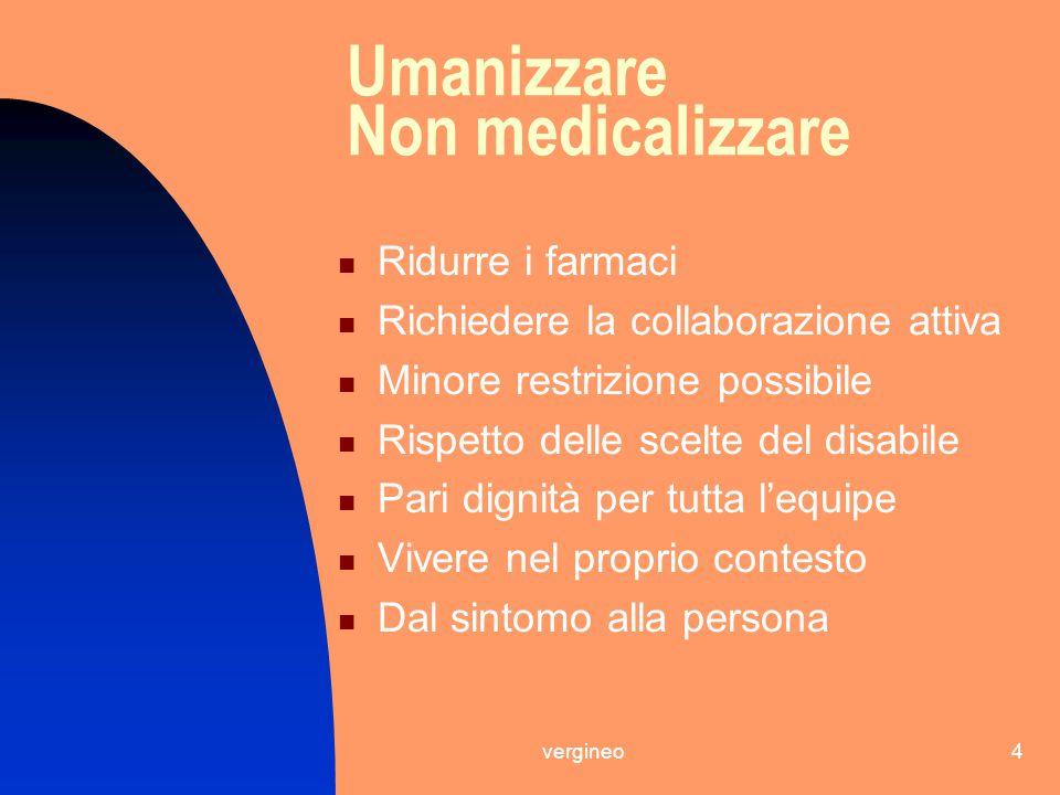 vergineo4 Umanizzare Non medicalizzare Ridurre i farmaci Richiedere la collaborazione attiva Minore restrizione possibile Rispetto delle scelte del di