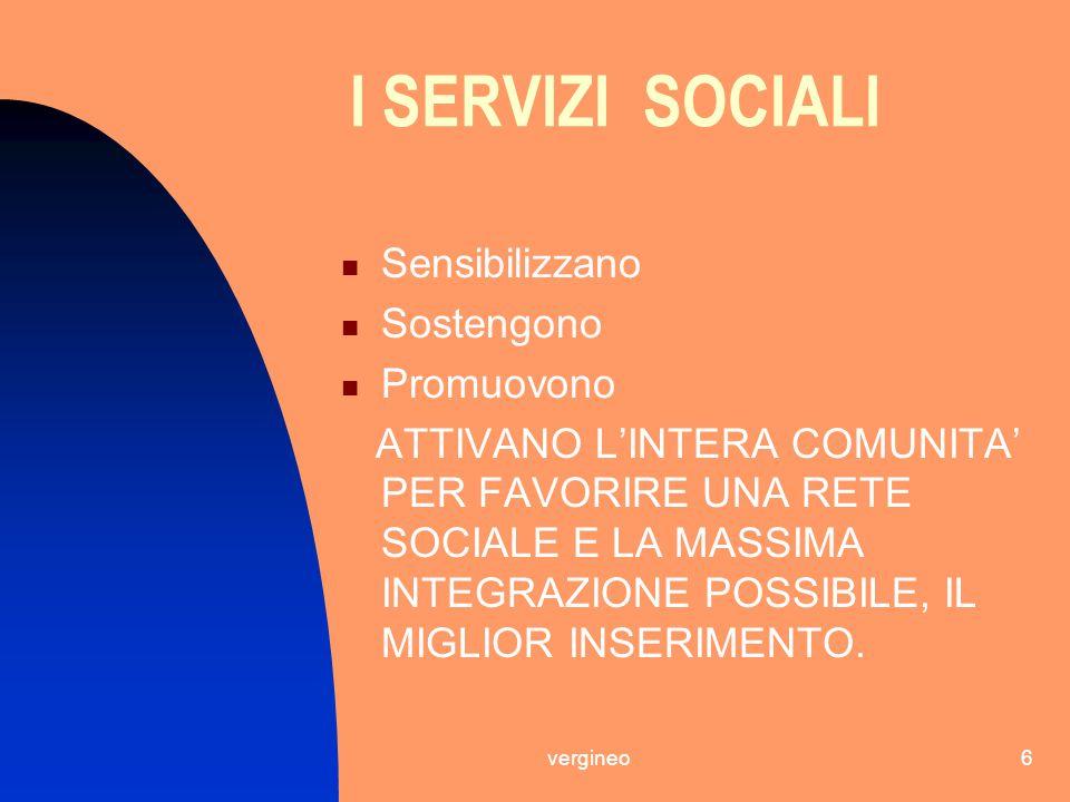 vergineo6 I SERVIZI SOCIALI Sensibilizzano Sostengono Promuovono ATTIVANO L'INTERA COMUNITA' PER FAVORIRE UNA RETE SOCIALE E LA MASSIMA INTEGRAZIONE P