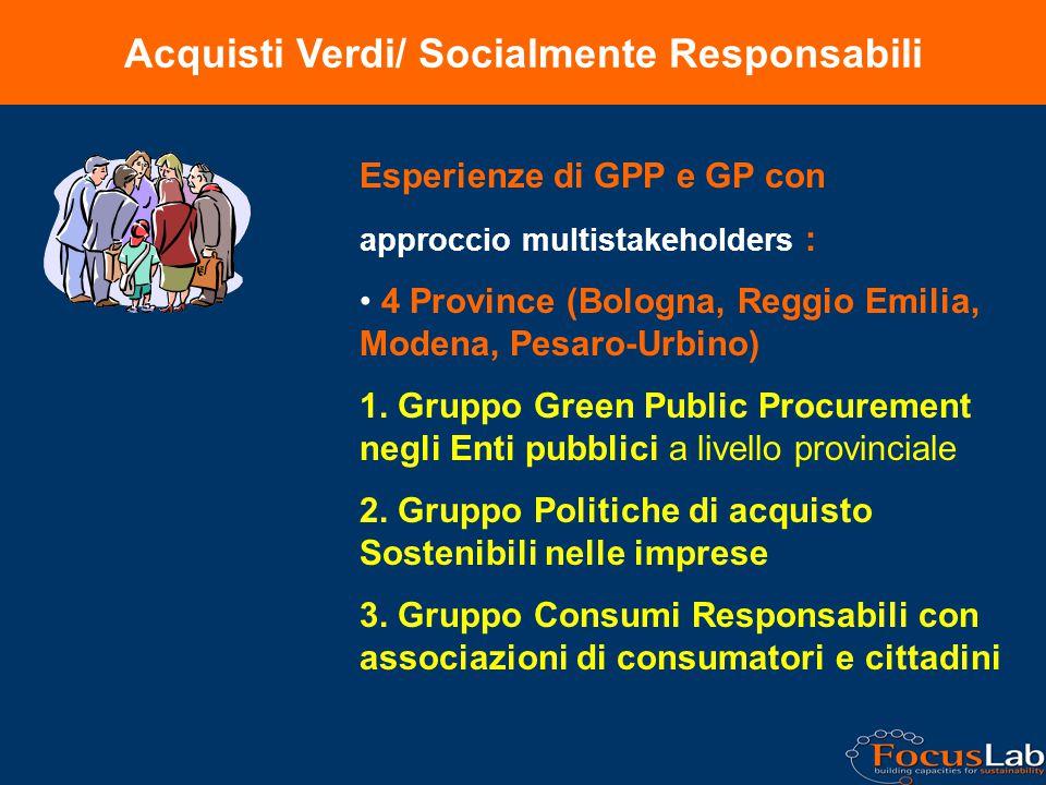 Acquisti Verdi/ Socialmente Responsabili Esperienze di GPP e GP con approccio multistakeholders : 4 Province (Bologna, Reggio Emilia, Modena, Pesaro-Urbino) 1.