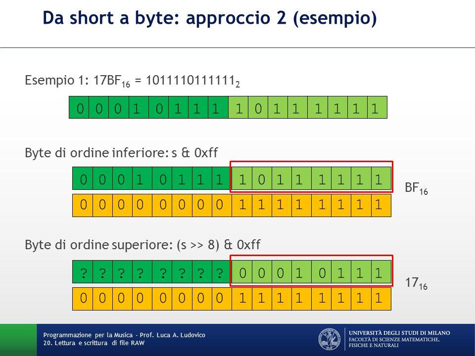 Esempio 1: 17BF 16 = 1011110111111 2 Byte di ordine inferiore: s & 0xff BF 16 Byte di ordine superiore: (s >> 8) & 0xff 17 16 Da short a byte: approccio 2 (esempio) Programmazione per la Musica - Prof.