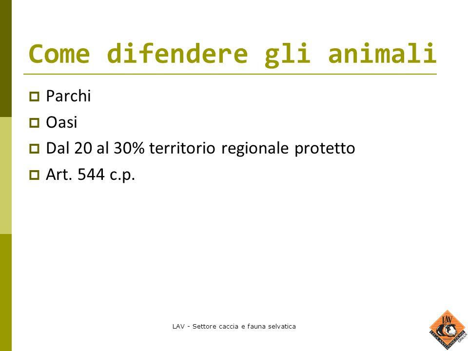 LAV - Settore caccia e fauna selvatica Come difendere gli animali  Parchi  Oasi  Dal 20 al 30% territorio regionale protetto  Art. 544 c.p.