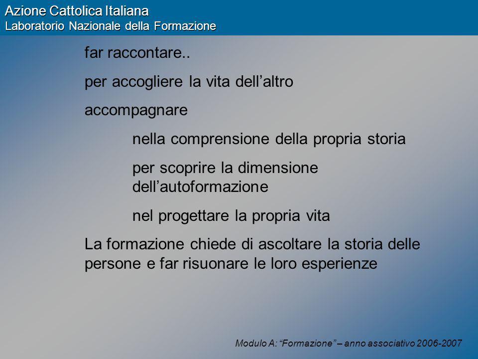 Modulo A: Formazione – anno associativo 2006-2007 Azione Cattolica Italiana Laboratorio Nazionale della Formazione far raccontare..