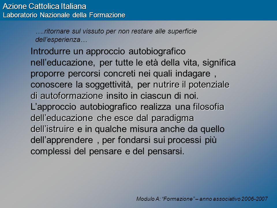 Modulo A: Formazione – anno associativo 2006-2007 Azione Cattolica Italiana Laboratorio Nazionale della Formazione Quale fine .