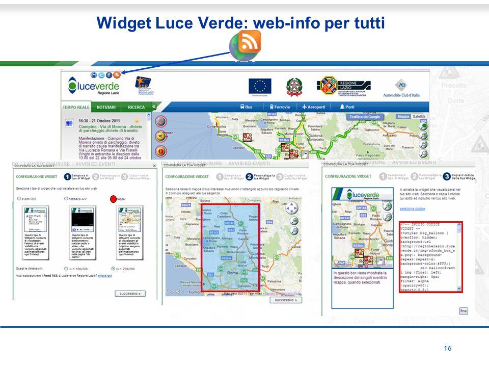 16 Widget Luce Verde: web-info per tutti