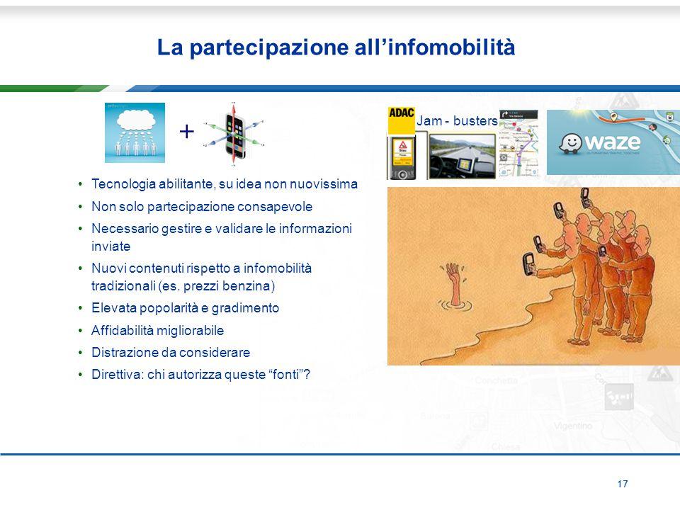 17 La partecipazione all'infomobilità Tecnologia abilitante, su idea non nuovissima Non solo partecipazione consapevole Necessario gestire e validare le informazioni inviate Nuovi contenuti rispetto a infomobilità tradizionali (es.