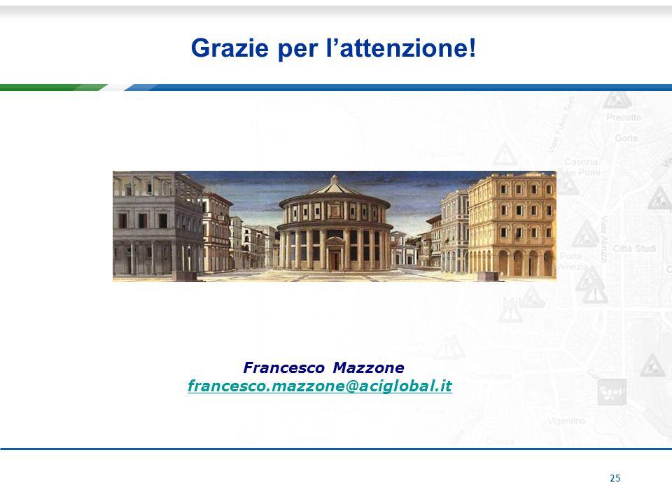 25 Grazie per l'attenzione! Francesco Mazzone francesco.mazzone@aciglobal.it