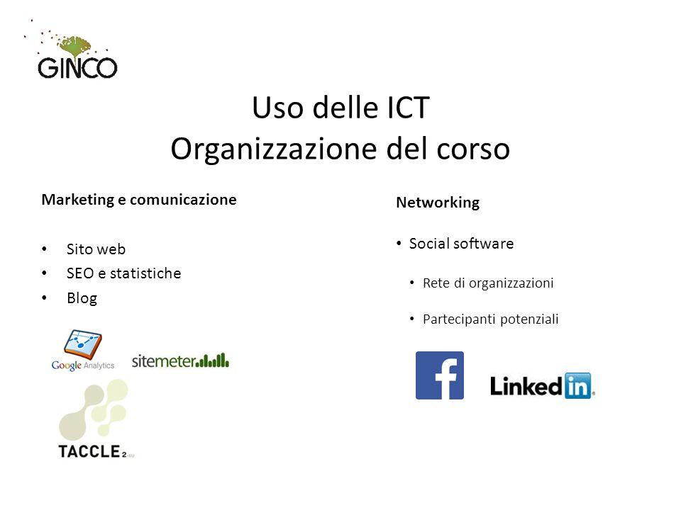 Marketing e comunicazione Sito web SEO e statistiche Blog Uso delle ICT Organizzazione del corso Networking Social software Rete di organizzazioni Partecipanti potenziali