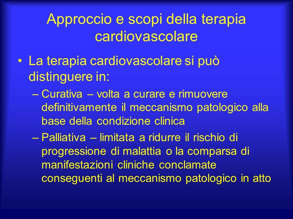 Approccio e scopi della terapia cardiovascolare La terapia cardiovascolare si può distinguere in: –Curativa – volta a curare e rimuovere definitivamen