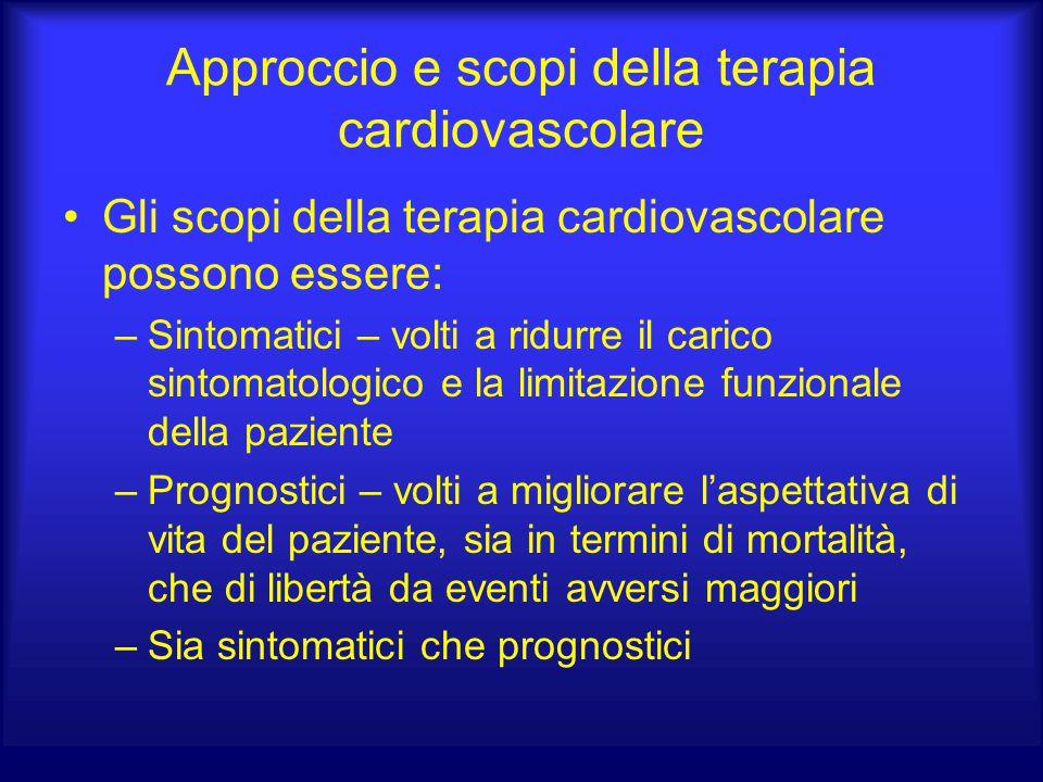 Approccio e scopi della terapia cardiovascolare Gli scopi della terapia cardiovascolare possono essere: –Sintomatici – volti a ridurre il carico sinto