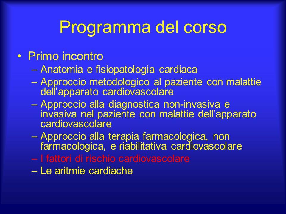Programma del corso Primo incontro –Anatomia e fisiopatologia cardiaca –Approccio metodologico al paziente con malattie dell'apparato cardiovascolare