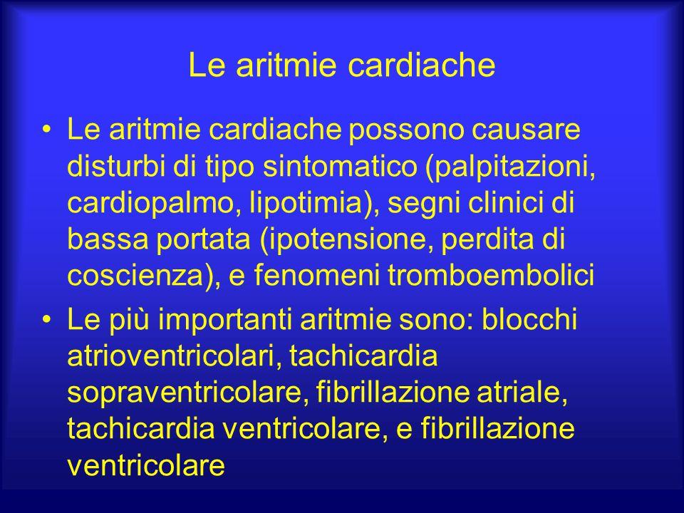 Le aritmie cardiache Le aritmie cardiache possono causare disturbi di tipo sintomatico (palpitazioni, cardiopalmo, lipotimia), segni clinici di bassa