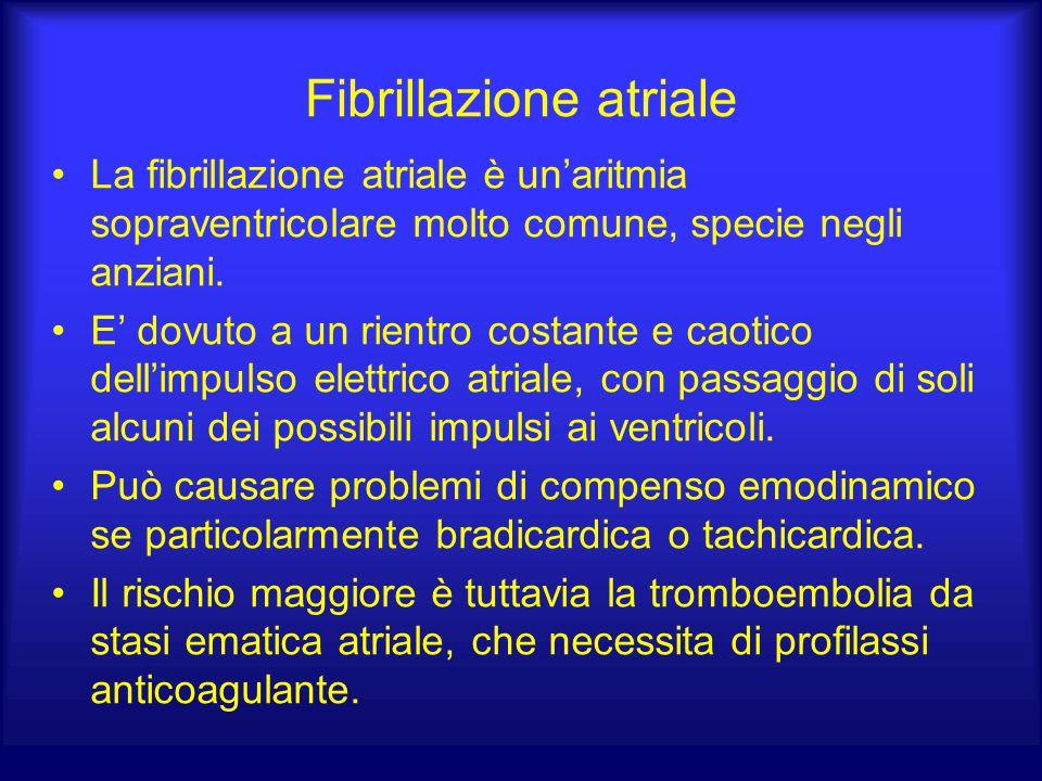 Fibrillazione atriale La fibrillazione atriale è un'aritmia sopraventricolare molto comune, specie negli anziani. E' dovuto a un rientro costante e ca