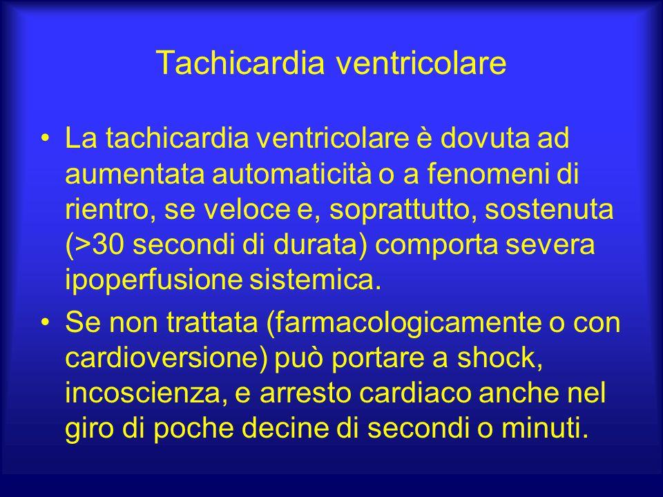Tachicardia ventricolare La tachicardia ventricolare è dovuta ad aumentata automaticità o a fenomeni di rientro, se veloce e, soprattutto, sostenuta (