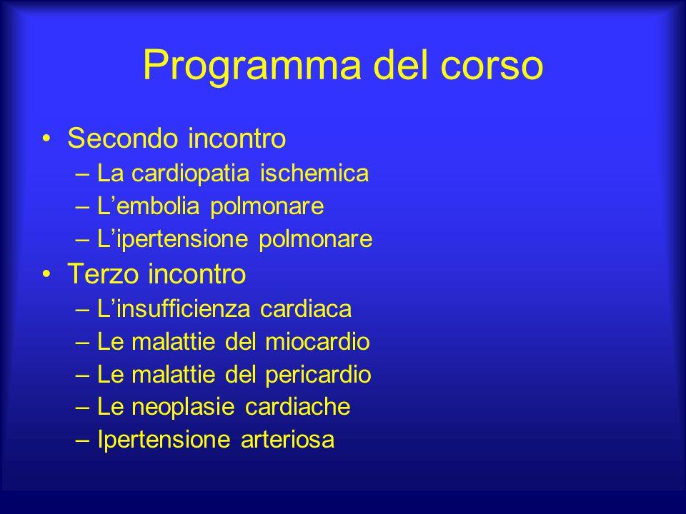Programma del corso Secondo incontro –La cardiopatia ischemica –L'embolia polmonare –L'ipertensione polmonare Terzo incontro –L'insufficienza cardiaca