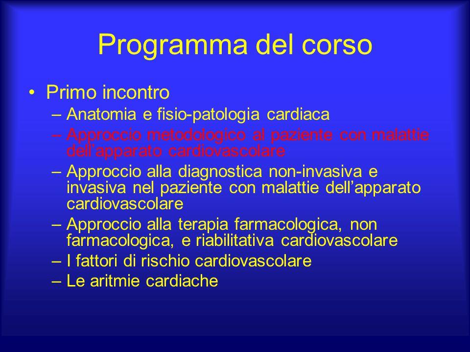 Programma del corso Primo incontro –Anatomia e fisio-patologia cardiaca –Approccio metodologico al paziente con malattie dell'apparato cardiovascolare