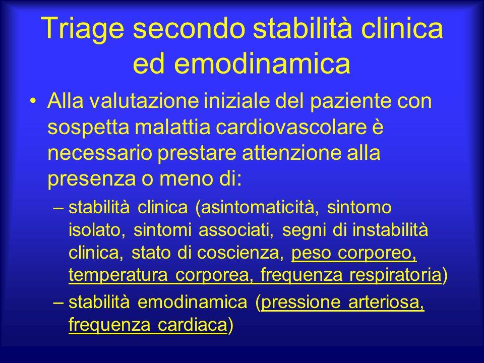 Triage secondo stabilità clinica ed emodinamica Alla valutazione iniziale del paziente con sospetta malattia cardiovascolare è necessario prestare att