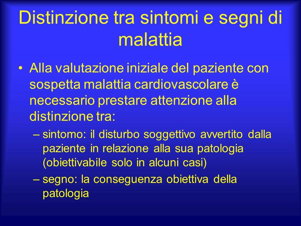 Distinzione tra sintomi e segni di malattia Alla valutazione iniziale del paziente con sospetta malattia cardiovascolare è necessario prestare attenzi
