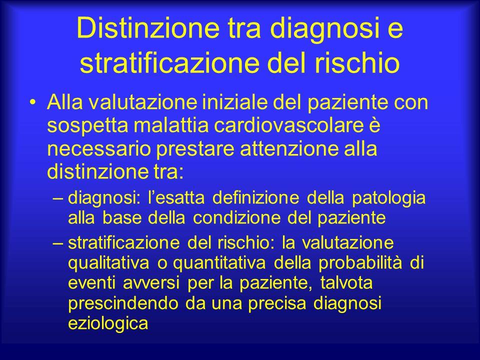 Distinzione tra diagnosi e stratificazione del rischio Alla valutazione iniziale del paziente con sospetta malattia cardiovascolare è necessario prest