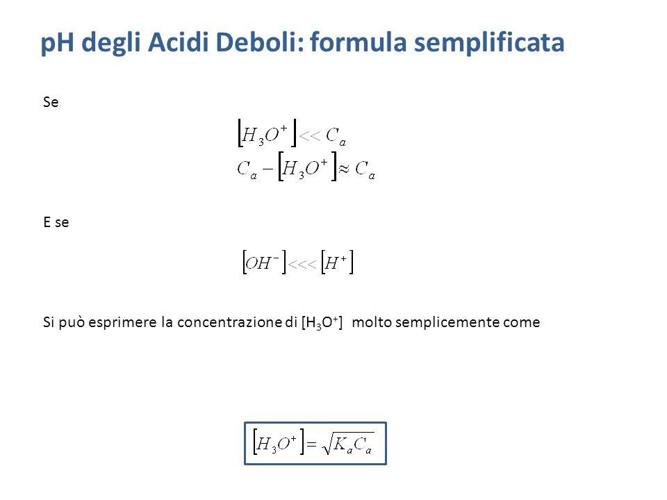 pH degli Acidi Deboli: formula semplificata Se E se Si può esprimere la concentrazione di [H 3 O + ] molto semplicemente come