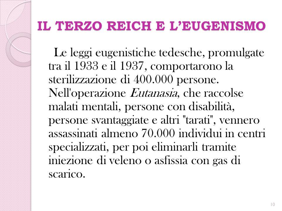 IL TERZO REICH E L'EUGENISMO Le leggi eugenistiche tedesche, promulgate tra il 1933 e il 1937, comportarono la sterilizzazione di 400.000 persone. Nel