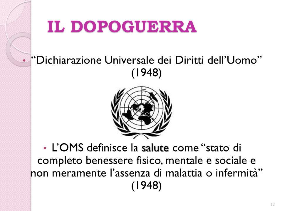 """IL DOPOGUERRA """"Dichiarazione Universale dei Diritti dell'Uomo"""" (1948) salute L'OMS definisce la salute come """"stato di completo benessere fisico, menta"""