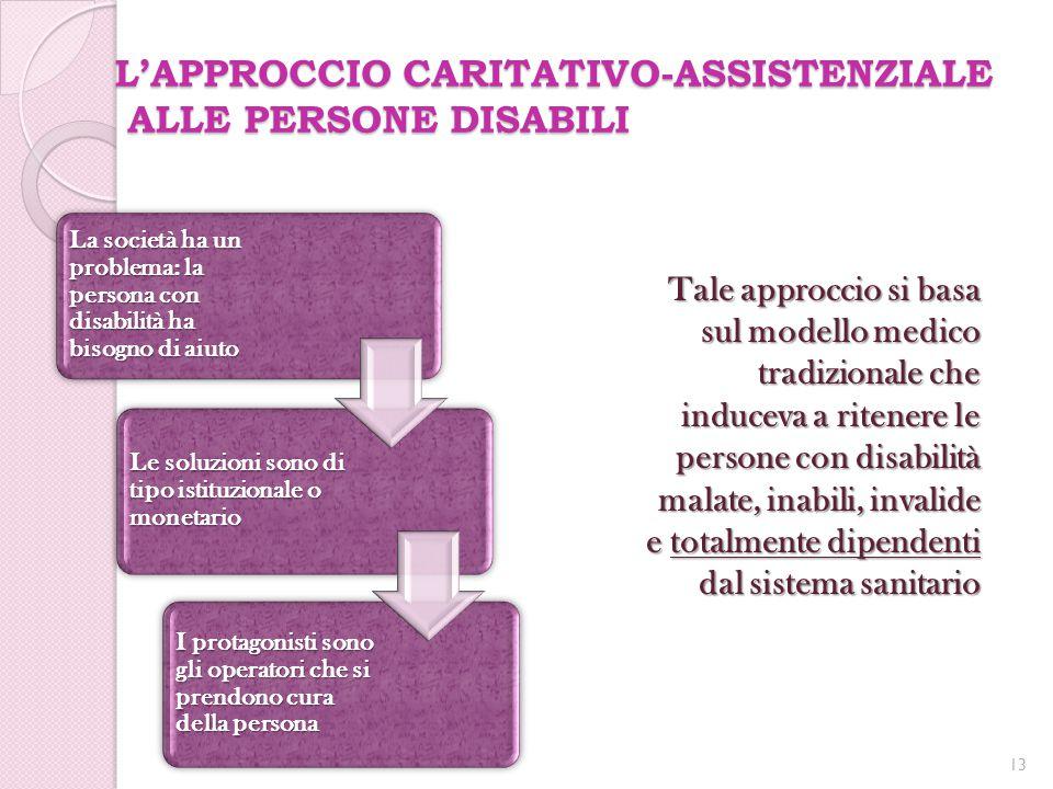 L'APPROCCIO CARITATIVO-ASSISTENZIALE ALLE PERSONE DISABILI Tale approccio si basa sul modello medico tradizionale che induceva a ritenere le persone c