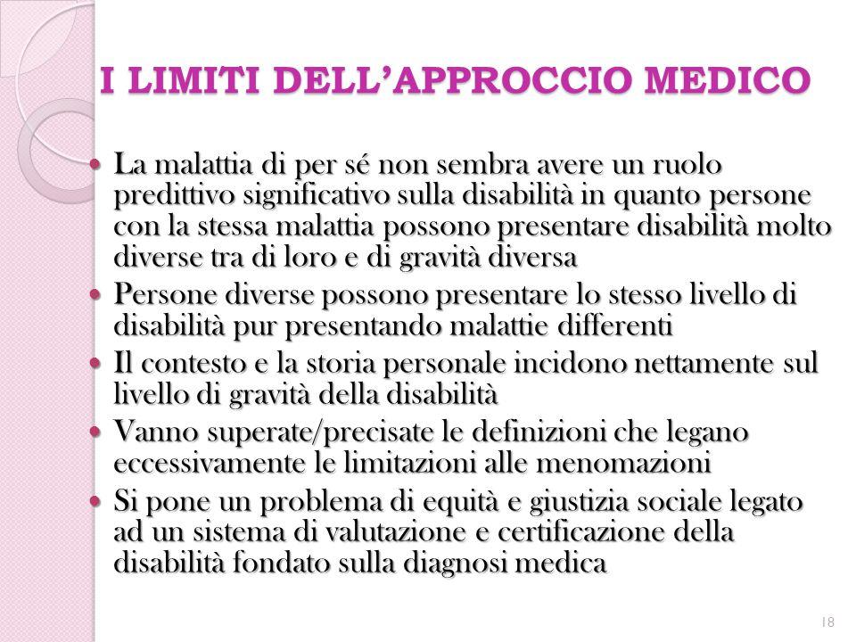 I LIMITI DELL'APPROCCIO MEDICO La malattia di per sé non sembra avere un ruolo predittivo significativo sulla disabilità in quanto persone con la stes