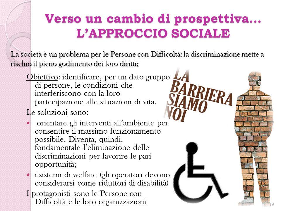 Verso un cambio di prospettiva… L'APPROCCIO SOCIALE Obiettivo: identificare, per un dato gruppo di persone, le condizioni che interferiscono con la lo