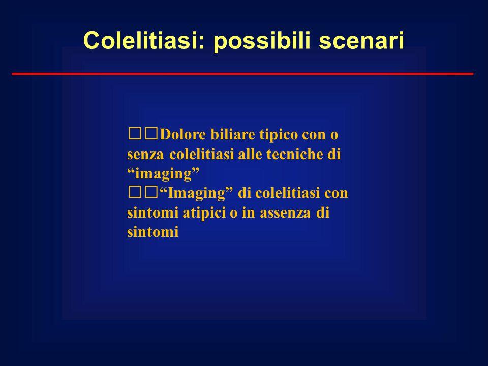 """Colelitiasi: possibili scenari Dolore biliare tipico con o senza colelitiasi alle tecniche di """"imaging"""" """"Imaging"""" di colelitiasi con sintomi atipici o"""