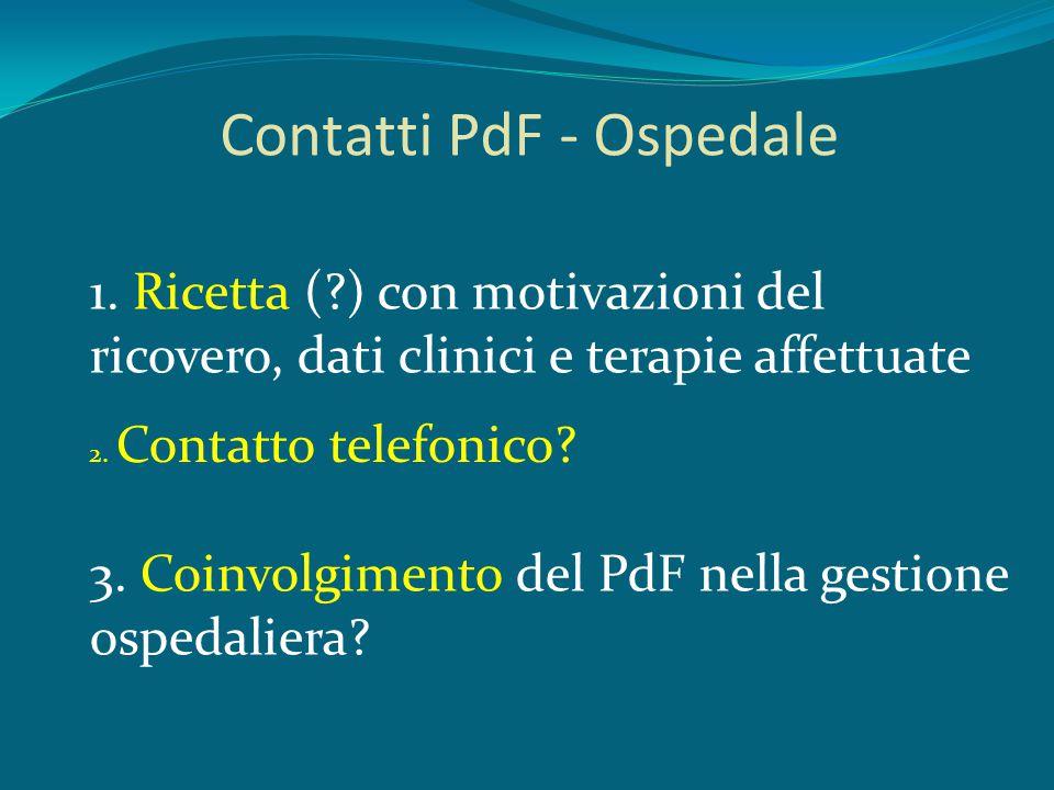 Contatti PdF - Ospedale 1. Ricetta (?) con motivazioni del ricovero, dati clinici e terapie affettuate 2. Contatto telefonico? 3. Coinvolgimento del P
