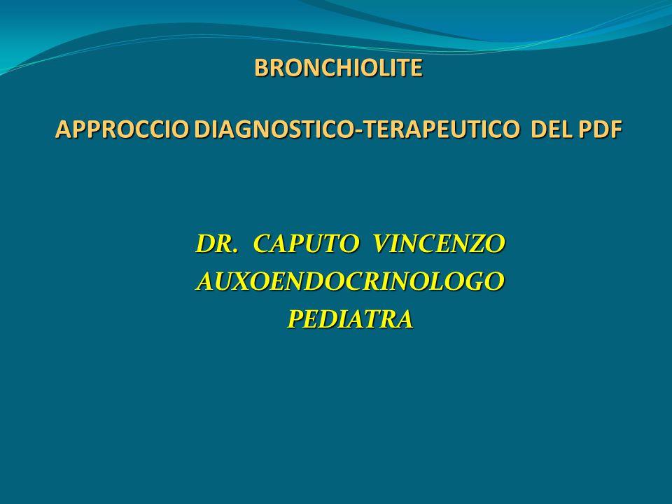 BRONCHIOLITE: Manifestazioni cliniche Temperatura febbrile (< 38,5°C) Rinite Tosse Tachipnea/dispnea Rantoli crepitanti Wheezing Irritabilità/inappetenza