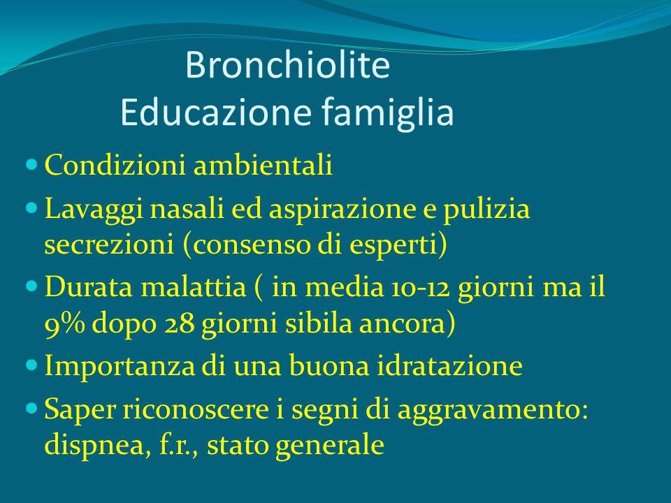 Bronchiolite Educazione famiglia Condizioni ambientali Lavaggi nasali ed aspirazione e pulizia secrezioni (consenso di esperti) Durata malattia ( in m