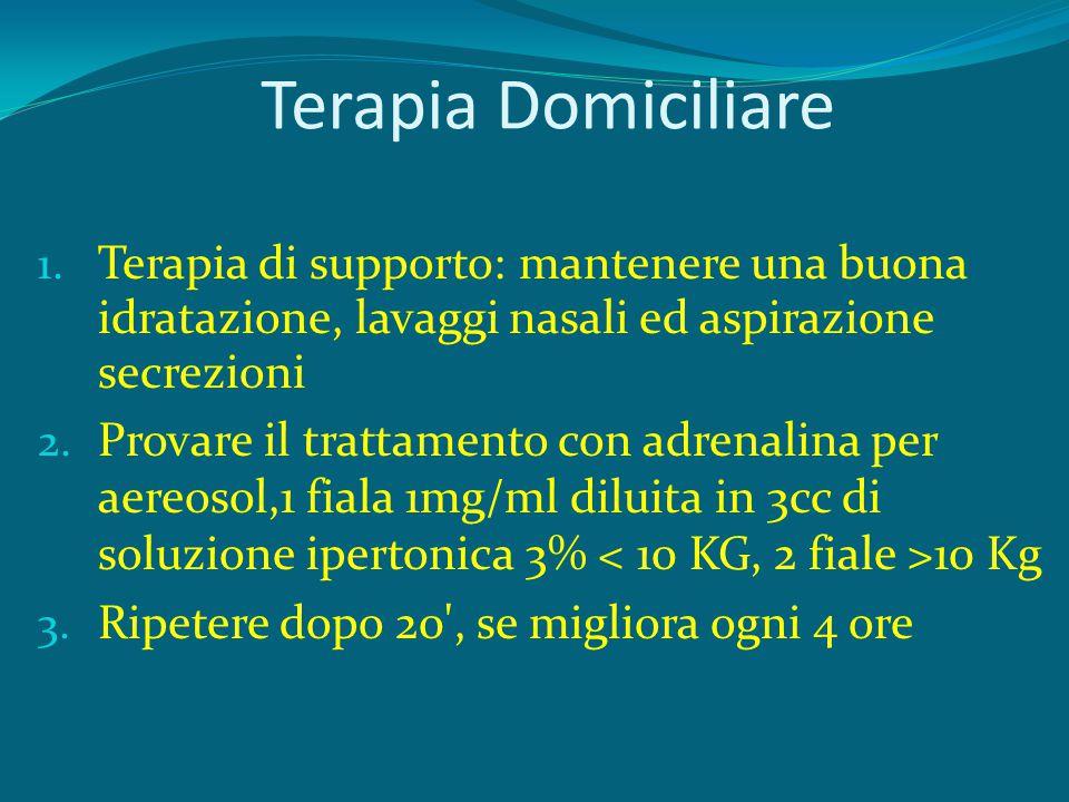 Terapia Domiciliare 1. Terapia di supporto: mantenere una buona idratazione, lavaggi nasali ed aspirazione secrezioni 2. Provare il trattamento con ad