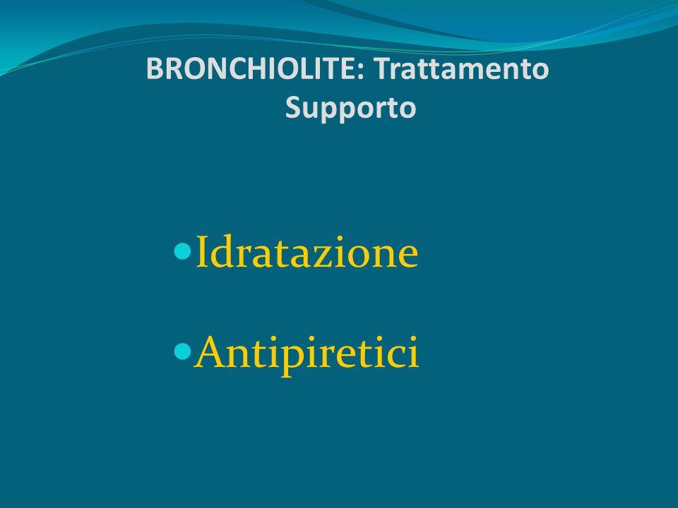 BRONCHIOLITE: Sintomi di rischio Incapacità ad assumere liquidi adeguati Apnea Cianosi Frequenza respiratoria > 60 atti/minuto Letargia Organi ipocondriaci palpabili