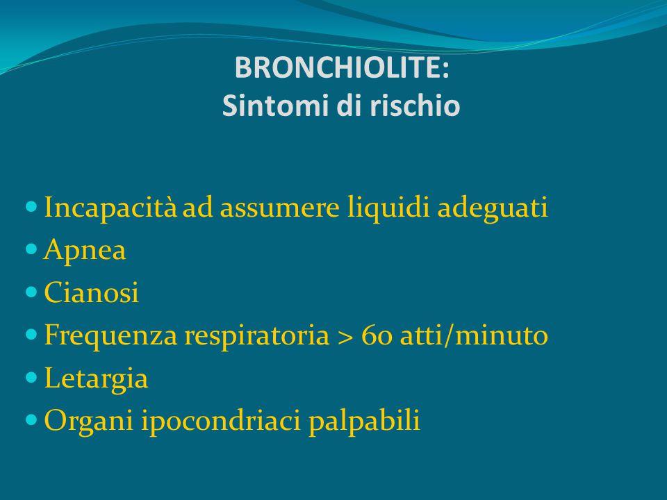 BRONCHIOLITE: Sintomi di rischio Incapacità ad assumere liquidi adeguati Apnea Cianosi Frequenza respiratoria > 60 atti/minuto Letargia Organi ipocond