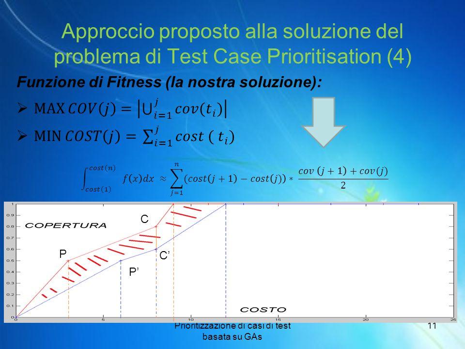 Approccio proposto alla soluzione del problema di Test Case Prioritisation (4) Prioritizzazione di casi di test basata su GAs 11 P P' C C'