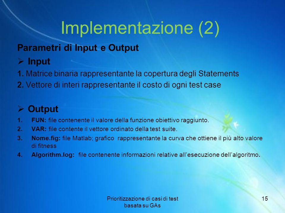 Implementazione (2) Parametri di Input e Output  Input 1. Matrice binaria rappresentante la copertura degli Statements 2. Vettore di interi rappresen