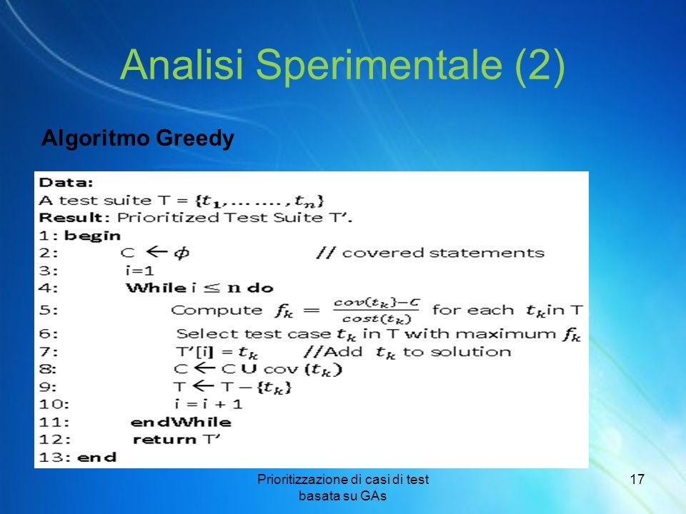 Analisi Sperimentale (2) Algoritmo Greedy Prioritizzazione di casi di test basata su GAs 17