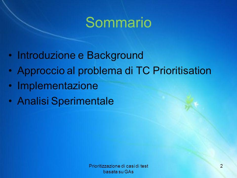 Sommario Introduzione e Background Approccio al problema di TC Prioritisation Implementazione Analisi Sperimentale Prioritizzazione di casi di test ba