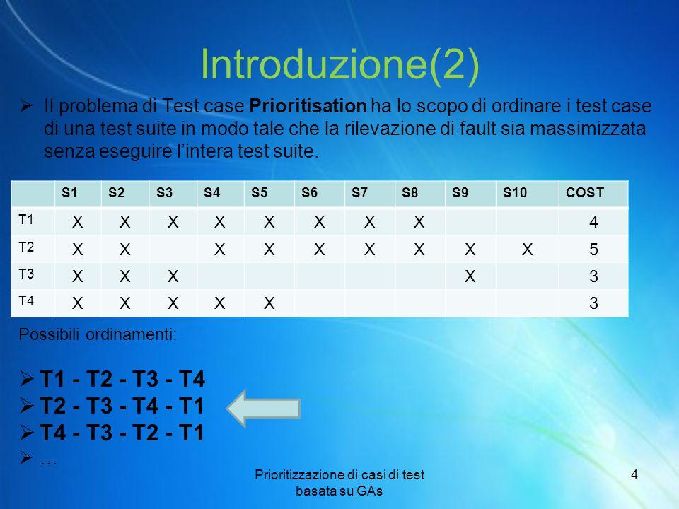 Introduzione(2)  Il problema di Test case Prioritisation ha lo scopo di ordinare i test case di una test suite in modo tale che la rilevazione di fau